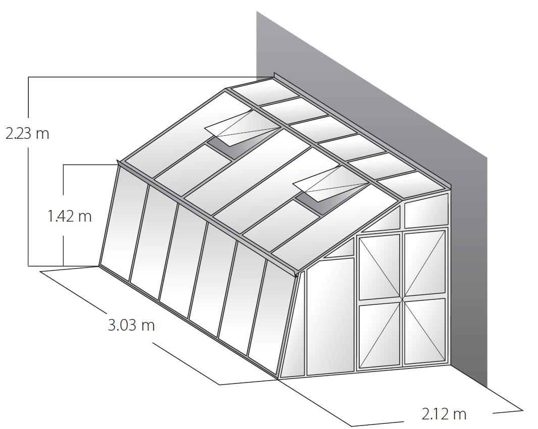 Technische Daten Gewächshaus Domus 3