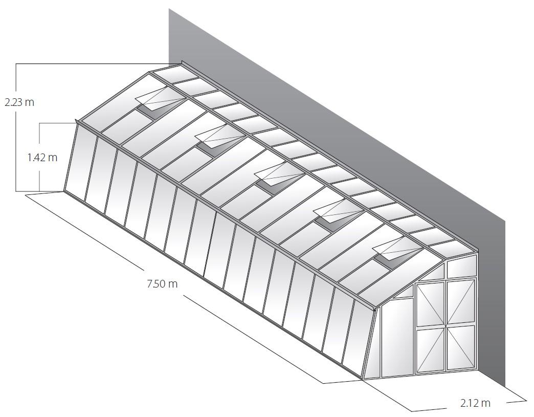 Technische Daten Gewächshaus Domus 7,5